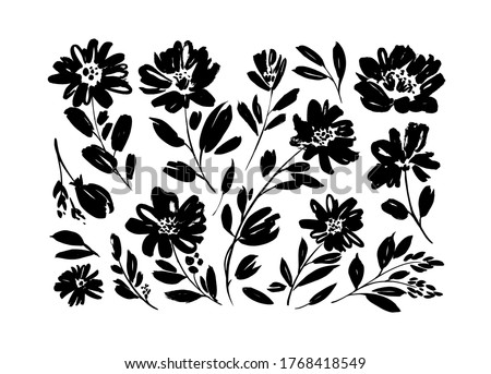 Spring flowers hand drawn vector set. Black brush flower silhouettes. Ink drawing wild plants, herbs or flowers, monochrome botanical illustration. Anemones, peonies, chrysanthemums isolated cliparts. #1768418549
