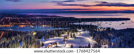 Panoramic view of Vancouver City, Canada at Dusk from Grouse Mountain Ski Resort