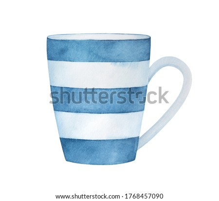 Water color illustration of stylish classic mug with blue stripe pattern. One single object. Hand painted watercolour graphic drawing on white background, cut out clip art element for design decor.
