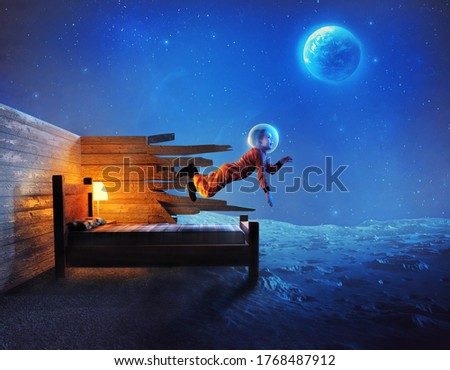 Young child leaves bedroom and explores the moon and outer space Royalty-Free Stock Photo #1768487912