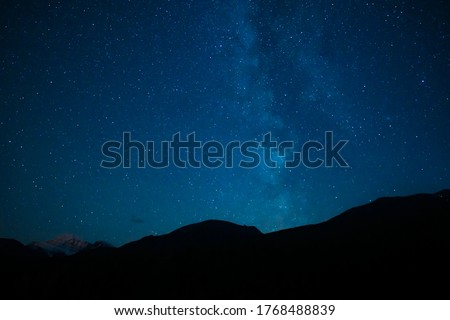 Mountains In Summer Night Sky Galaxy Milky Way #1768488839