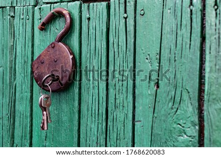 Old barn locks with keys hang on the painted green wood wall. Rusty metal device for closing doors. #1768620083