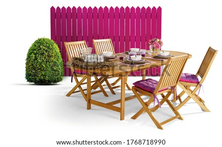 Wooden garden furniture with green fence and a green dome shaped topiary Box tree. #1768718990