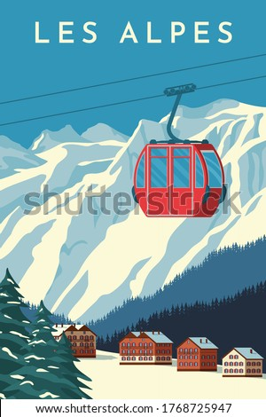 Ski resort with red gondola lift, mountain chalet, winter snowy landscape. Alps travel retro poster, vintage banner. Hand drawing flat vector illustration. Royalty-Free Stock Photo #1768725947