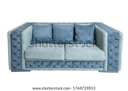 modern blue fabric sofa with three pillows isolated on white background, front view. unusual couch, furniture in contemporary style, interior, home design #1768729853