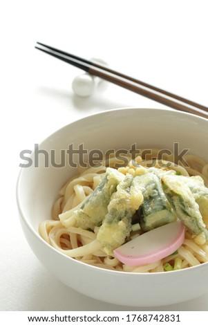 Japanese food, deep fried Okra Tempura and Undo noodles #1768742831