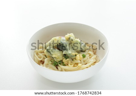 Japanese food, deep fried Okra Tempura and Undo noodles #1768742834