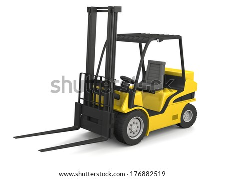 Modern yellow forklift isolated on white background #176882519