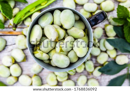 Freshly shelled broad beans in a mug. Royalty-Free Stock Photo #1768836092