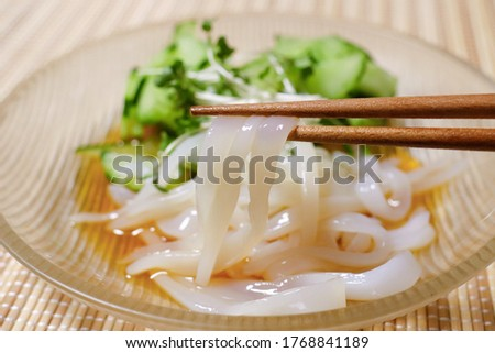 This is a picture of squid sashimi.