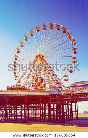 Retro Photo Filter Effect Ferris Wheel on Central Pier, Blackpool, Lancashire, UK