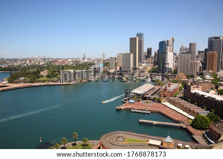 Aerial view Sydney Harbor skyline with Circular Quay Australia Royalty-Free Stock Photo #1768878173