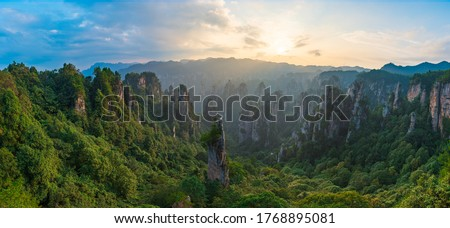 Green nature background, beautiful panoramic picture of Zhangjiajie National Forest Park, Hunan Province, China.