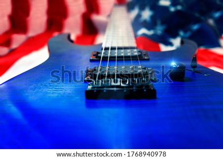American Rock And Roll Music Concept With American Flag Electric Guitar #1768940978