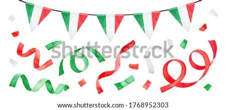 Watercolour drawing of festive garland with striped triangular flags and flying multi coloured party confetti collection. Hand drawn water color graphic painting, cut out clipart elements for design.