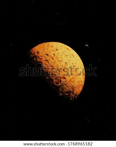 Red planet, covered with craters in space with asteroid and stars. #1768965182