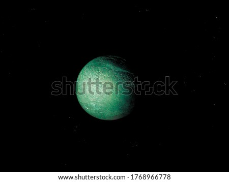 Green planet with a solid surface in space Royalty-Free Stock Photo #1768966778