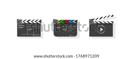 Film set clapperboard for cinema production. Clapboard making film with text. Board clap for video clip scene start. Lights, camera, action! Black and white icon on pink background.