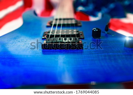 Close Up Blue Electric Guitar Music Instrument Rock With American Flag #1769044085