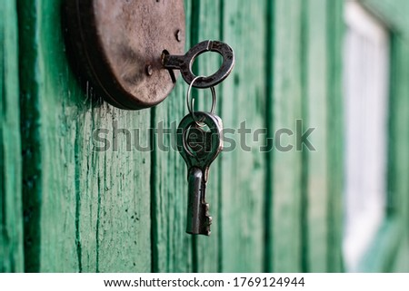 Old barn locks with keys hang on the painted green wood wall. Rusty metal device for closing doors. #1769124944