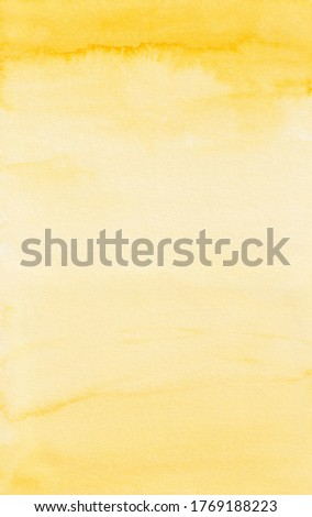 Yellow Watercolor Background, Paper Texture, Background Overlay, Abstract Yellow Texture