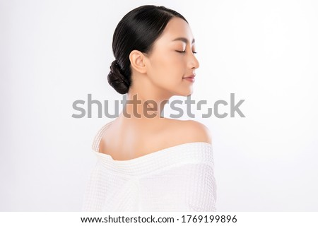 Side view of Beauty Woman face Portrait, Beautiful Young Asian Woman with Clean Fresh Healthy Skin, Facial treatment. Cosmetology, beauty and spa, isolated on white background. Royalty-Free Stock Photo #1769199896