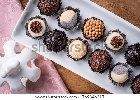 Brigadeiro. Typical Brazilian sweet. Many types of brigadiers together.Top View Royalty-Free Stock Photo #1769346317