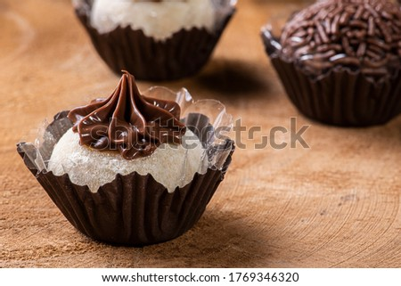 Brigadeiro. Typical Brazilian sweet. Many types of brigadiers together Royalty-Free Stock Photo #1769346320