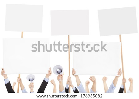 furious people protesting with board and megaphone