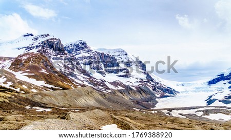 Mount Andromeda, Mount Athabasca and on the right the Athabasca Glacier in the Columbia Icefields in Jasper national Park, Alberta, Canada at the end of May #1769388920