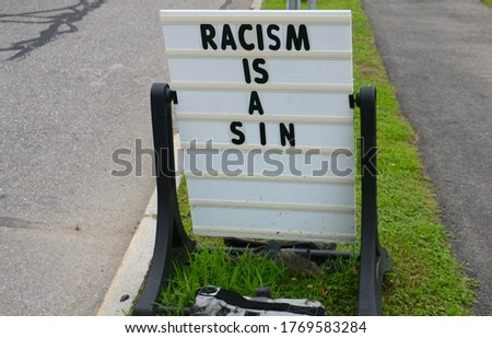 Anti-racism message on a signboard outside a church in Lexington, Massachusetts