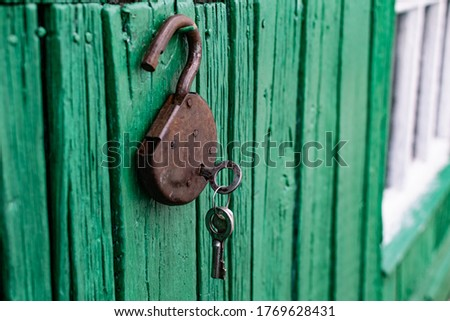 Old barn locks with keys hang on the painted green wood wall. Rusty metal device for closing doors. #1769628431