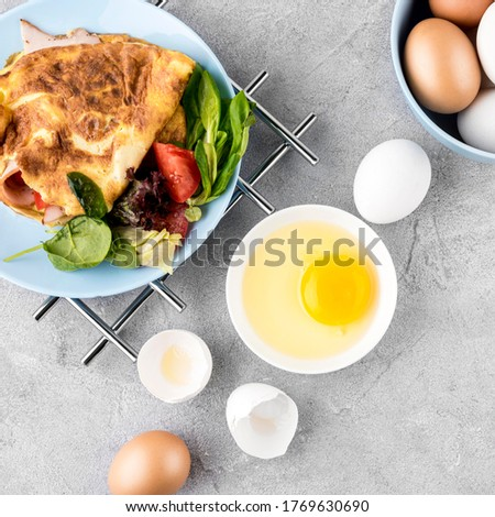 Top view delicious meal with eggs Photo #1769630690