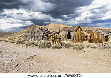 Ghost town of Bodie is a National Historic Landmark. It is located in Mono County, Sierra Nevada - California. United States of America. The town was founded in 1859. Royalty-Free Stock Photo #1769654534