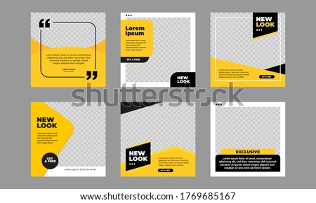 Set of Editable minimal square banner template. Black and yellow background color with stripe line shape. Suitable for social media post and web internet ads. Vector illustration with photo college #1769685167