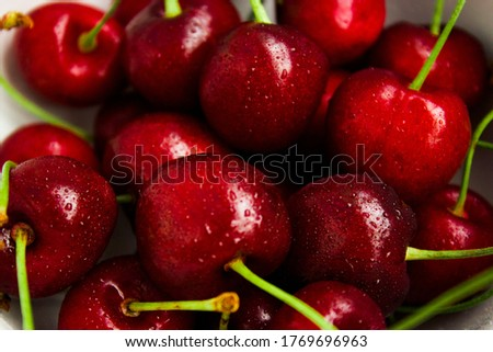 A lot of fresh sweet cherry fruit berries with water drops, close up. Pile of ripe cherries. Large collection of fresh red cherries. Ripe cherries texture background #1769696963