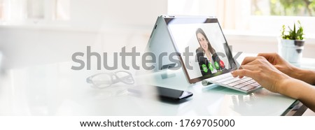 Online Video Conference Interview Call And Call Meeting Royalty-Free Stock Photo #1769705000