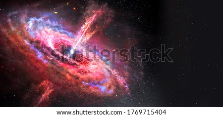 Stars and material falls into a black hole. Abstract space wallpaper. Black hole with nebula over colorful stars and cloud fields in outer space. Elements of this image furnished by NASA. Royalty-Free Stock Photo #1769715404
