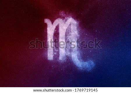 Scorpio Zodiac Sign Red Blue. Abstract night sky background