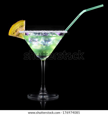 Cocktail Smoothie, with slices of kiwi on a black party background #176974085