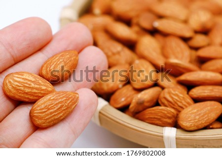 This is a picture of unsalted roasted almonds.