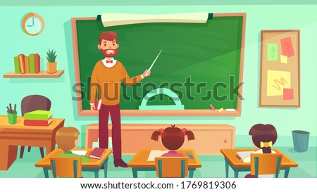 Male teacher teaches students in elementary school class. Education teacher stay at blackboard, teaching and learning in classroom. Vector illustration Royalty-Free Stock Photo #1769819306
