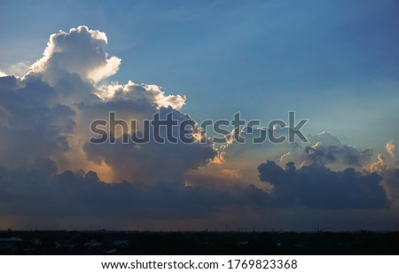 Cumulus, Beautiful clouds in the beautiful sky, Sky background image. Blue tone background. Royalty-Free Stock Photo #1769823368