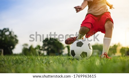 Boy kicking a ball while playing street soccer football on the green grass field for exercise. Outdoor sport activity for children and kids concept photo with copy space. Royalty-Free Stock Photo #1769963615