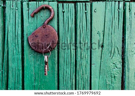 Old barn locks with keys hang on the painted green wood wall. Rusty metal device for closing doors. #1769979692