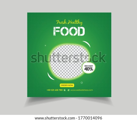 Editable Food and Restaurant Social Media Post Template Design. Social media banner for food business. Food social media template. Vegetable, Junk Food #1770014096