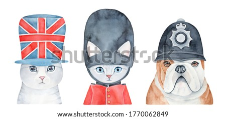 Animal portrait collection wearing various classic British signs and accessories: Union Jack flag hat, Queen's guard, policeman. Watercolour graphic painting, cutout clip art elements for cute design.