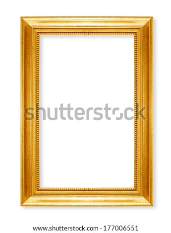 gold  picture frames. Isolated on white background