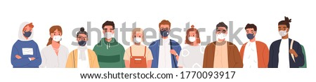 Portrait of diverse people wearing protective mask on face vector flat illustration. Men, women and teens of different ages in respirators isolated on white. Prevention from infection spread