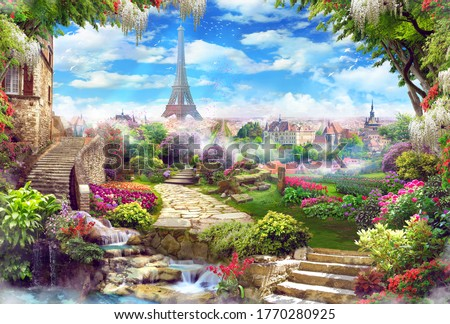 Beautiful view of the Eiffel Tower with access to the garden, with old houses, flowers and waterfalls. Digital collage, mural and mural. Wallpaper. Poster design. Modular panel.  Royalty-Free Stock Photo #1770280925